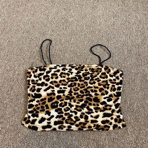 cheetah print cropped tank top